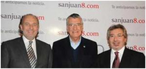 Luis Manzano, José Luis Gioja y Daniel Vila